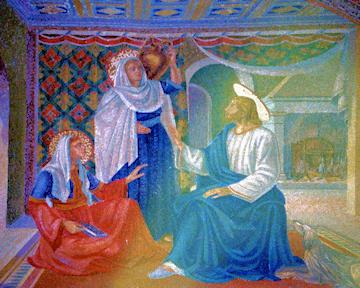 Jesús con sus amigas Marta & María en Betania