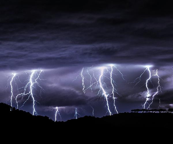 Lightning flashed, thunder boomed