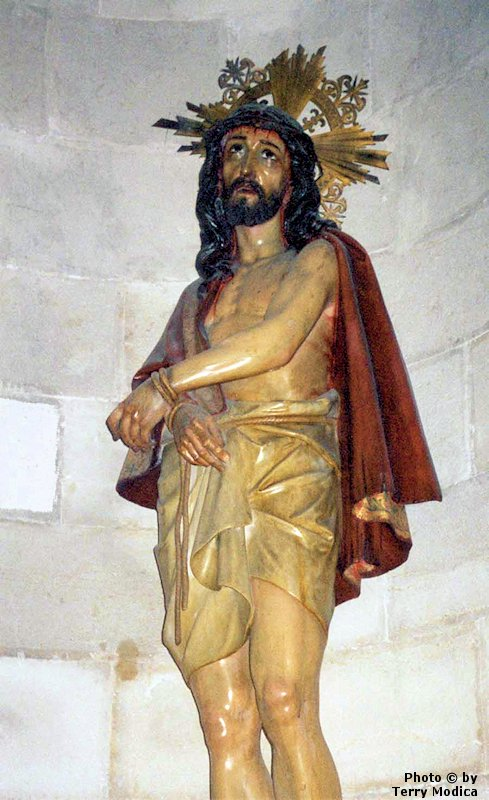 Jesus, bound and scouraged, endured the mockery