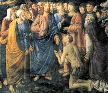 El Leproso de Rosselli de la Capilla Sixtina del Vaticano - Jesús sana a un leproso.